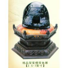 精品架紫檀双鱼雕
