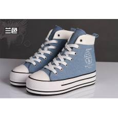 秋季新品厚底松糕鞋内增高牛仔帆布鞋