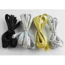 厂家直销供应涤纶织带时尚流行 多色潮人百搭金银丝鞋带批发