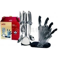 供应内贸厨房刀十件套,4CR13钢材,顶级厨房配置