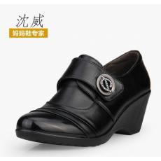 沈威新品春季中年女鞋妈妈鞋真皮单鞋 坡跟水钻老年人