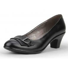 欧美春中跟商务女鞋浅口真皮休闲妈妈鞋舒适工作鞋