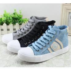 新款高帮帆布鞋 韩版多色清鲜版休闲校园学生女鞋