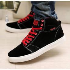 韩版简约百搭高帮鞋反绒皮高品质男士板鞋潮鞋