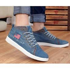 水洗牛仔布鞋男士中帮布鞋韩版潮流休闲男鞋瑞安帆布鞋