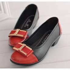工作鞋拼色蝴蝶结舒适女单鞋