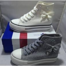 金鸡乐卡仕品牌L5037女鞋 新款蝴蝶结厚底内增高纯棉