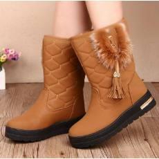 2014冬季新款雪地靴时尚蝴蝶结平跟雪地靴皮毛一体