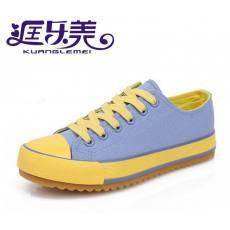 飞耐帆布鞋女低帮糖果色彩色厚底韩版潮学生鞋