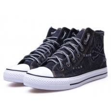 春季新款帆布鞋批发飞耐男士高帮鞋骷髅头平跟橡胶底布鞋