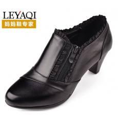 厂家直销批发新款温州女鞋真皮女中年女鞋高跟鞋拉链蕾丝