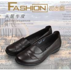 二森二春季秋款女鞋平底平跟单鞋真皮舒适中老年人妈妈鞋