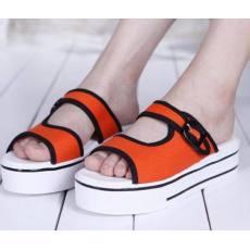 qile600_厂家批发库存处理鞋女厚底松糕一字拖鞋