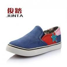 新款正品 一脚蹬套脚女鞋 低帮时尚拼色 女学生休闲鞋帆布鞋单鞋