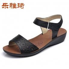 女凉鞋中跟坡跟舒适魔术贴中老年女鞋