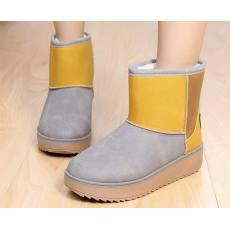 冬季新款拼色磨砂皮雪地靴 短筒厚底增高女短靴 一件代发