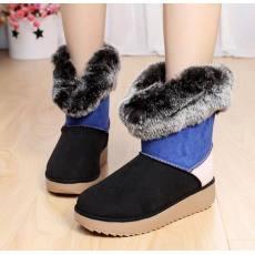 最兴潮 冬新款拼色雪地靴 磨砂皮防水防滑女靴子保暖棉鞋厂家销