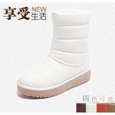 冬季新款中短筒PU雪地靴加厚底保暖鞋防滑底棉靴短靴
