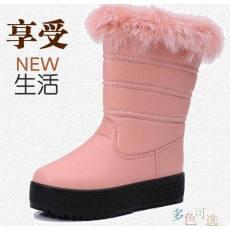 冬季韩版时尚真毛女中桶厚底雪地靴