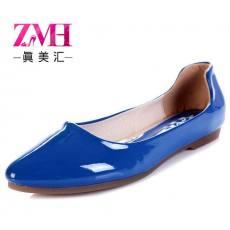 2014新款优雅漆面女鞋 pu平跟单鞋