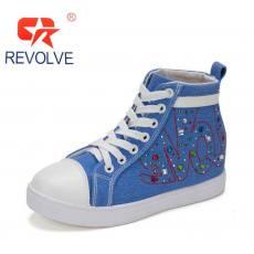 高帮系带 内增高时尚运动带钻帆布鞋