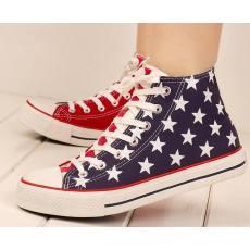 春季美国国旗经典款高帮帆布鞋