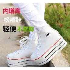 秋季新款韩版松糕厚底帆布女鞋