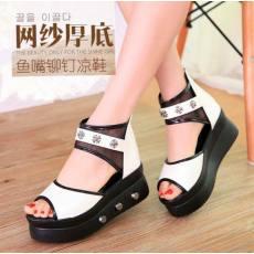 新款夏季鱼嘴凉鞋 厚底松糕鞋