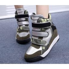 2014新款秋季韩版迷彩高帮厚底魔术贴隐形内增高休闲女鞋