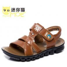迷你猫2014新款男童真皮凉鞋