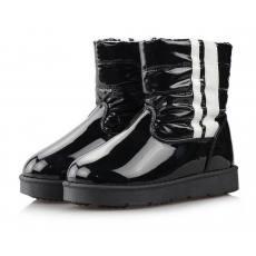 啊啦牛韩版潮男童女童中童大童童鞋漆皮保暖雪地靴