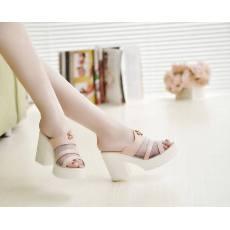 2014夏季新款凉鞋女真皮牛皮粗跟凉拖高跟鱼嘴鞋