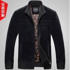秋冬季新款品牌中老年男装时尚宽松休闲毛呢加厚男式夹克外套男