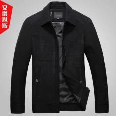 2014新款品牌男装秋冬季翻领加厚毛呢格子宽松休闲男式夹克外套男