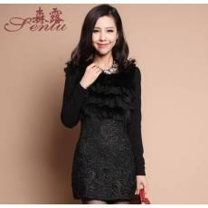 秋冬连衣裙 蕾丝花边 气质包臀 长袖裙 加绒加厚 打底裙