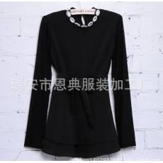 2014夏装新品 立领直身雪纺连衣裙