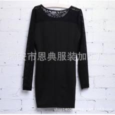 韩版中长款修身圆领紧身包臀裙一件代发
