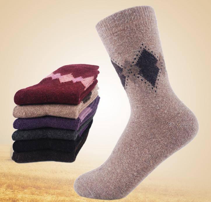 冬天 保暖 兔羊毛袜 加厚 菱形 时尚保暖 2890