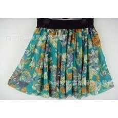 最新款 湖绿色底桔色大花 高档雪纺半身短裙