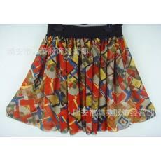 春夏最新款 厂家直销复古朱红色抽像大花半身短裙打底裙