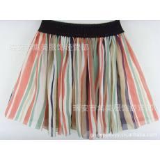 qile600_雪纺裙 碎花裙 半身裙 高腰裙 棉裙 百褶裙 彩色竖条纹