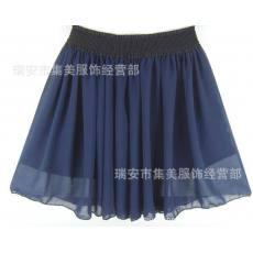 碎花裙 打底裙 蛋糕裙 短裙 半身裙 经典藏蓝色 纯色雪纺裙