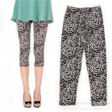 不规则线条黑白斑马纹夏季打底裤批发七分裤 时尚个性花薄