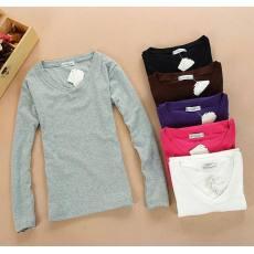 女装长袖T恤 修身经典款女式韩版春秋装V领女式打底衫T恤批发