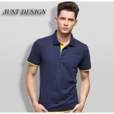 2014新款 男式纯色短袖 个性撞色polo衫 外贸男式t恤