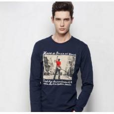 纯棉弹力品牌男式t恤 男t恤一件代发 男式长袖t恤男
