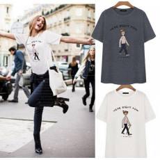 新款女装打底衫韩版修身纯棉短袖白色半袖休闲字母t恤