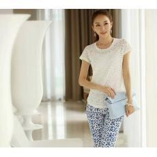 2014夏装新款 韩版时尚修身显瘦星行花纹9分裤 铅笔裤