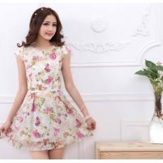 最新女装印花裙修身欧根纱拼接显瘦碎花连衣裙
