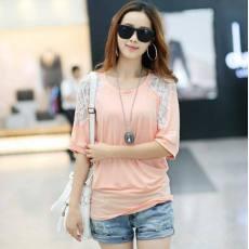 2014年 韩版新品 蝙蝠袖 蕾丝拼接 短袖 T恤针织衫